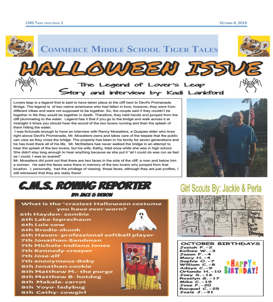 CMS Tiger Tales (October 4, 2019)