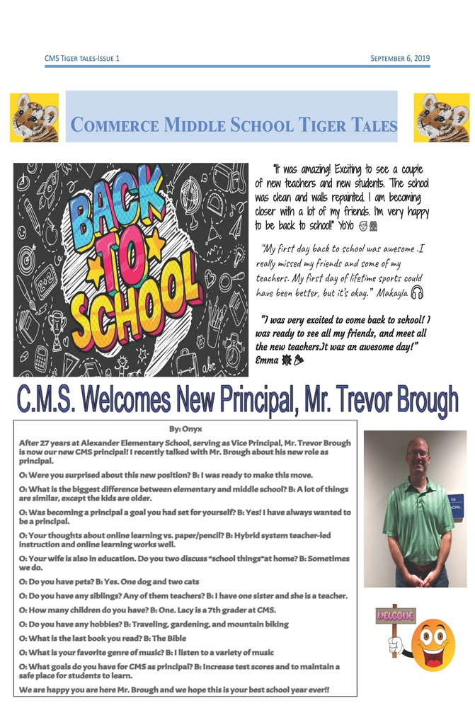 CMS Tiger Tales (September 6, 2019)