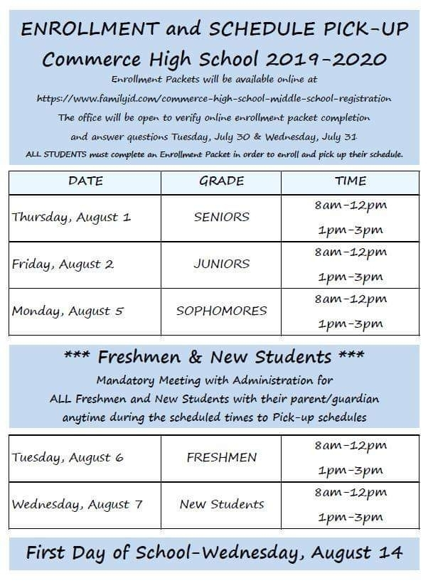 High School  Schedule Pickup