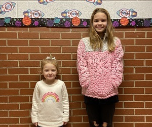 AES December Students of the Month Kylie Cossairt & Izzy Roberts