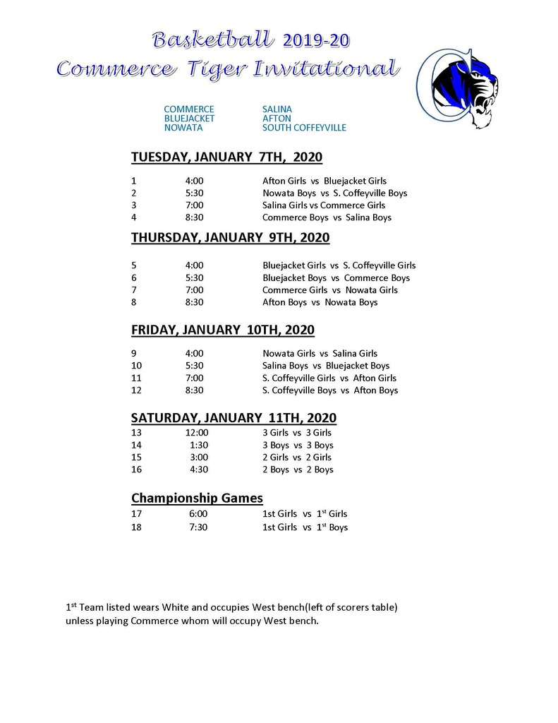 CHS Invitational Schedule