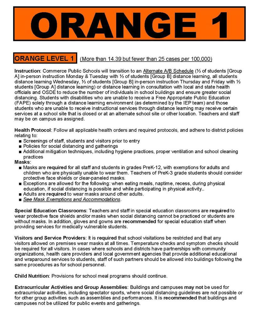Orange Level 1 Safety Protocols