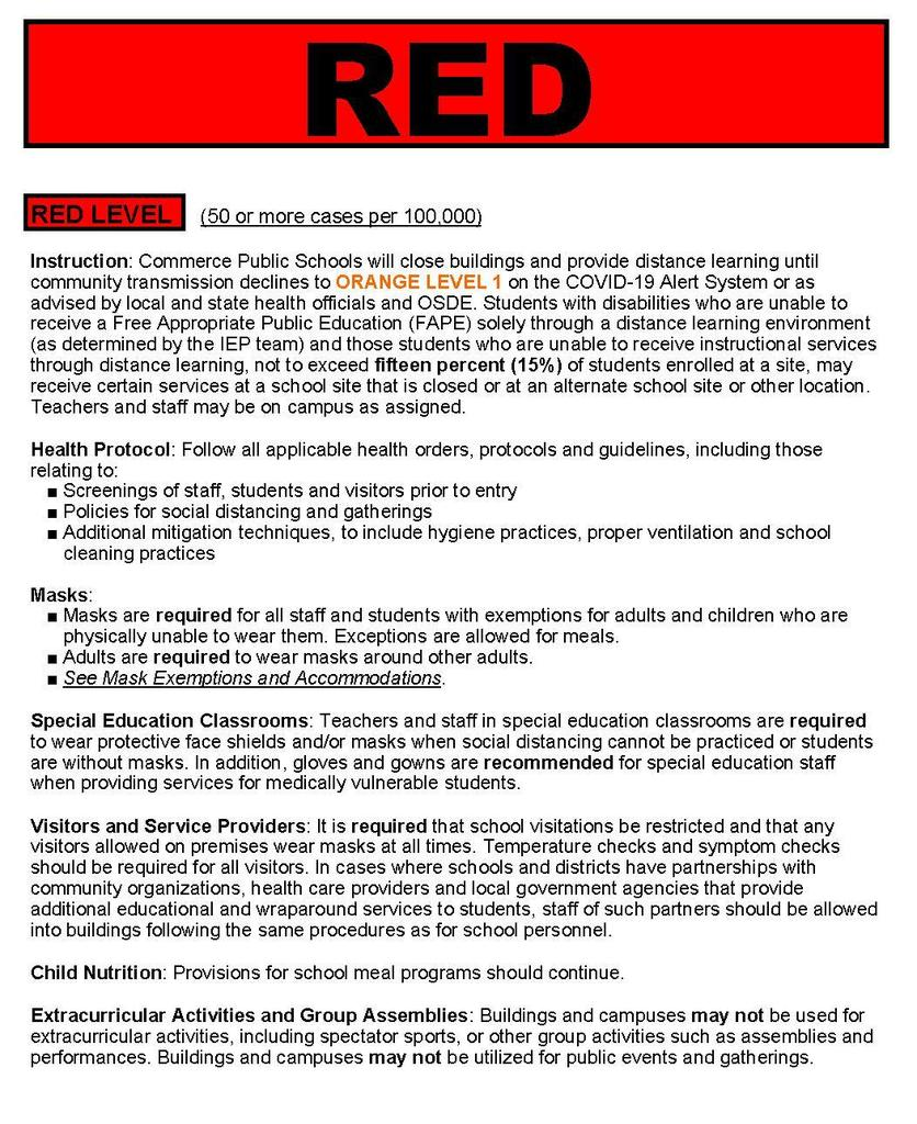 COVID-19 Red Risk Level
